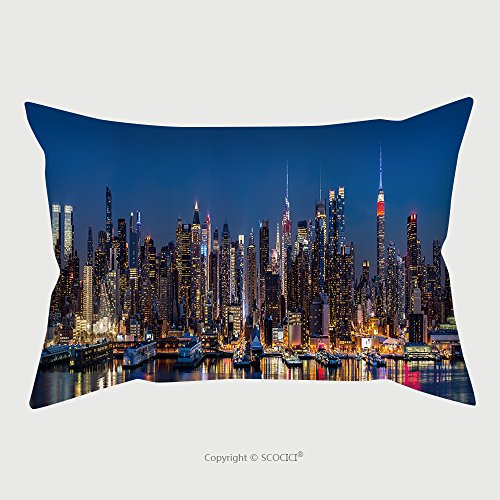 Custom Satin Pillowcase Protector New York Midtown Panorama At Dusk The Empire State Building Displays The Colors Of The American 177742559 Pillow Case Covers Decorative by chaoran