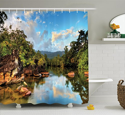 (Ambesonne Lake House Decor Shower Curtain Set, View of The Tropical Jungle River at The Beach of Masoala National Park in Madagascar, Bathroom Accessories, 69W X 70L)