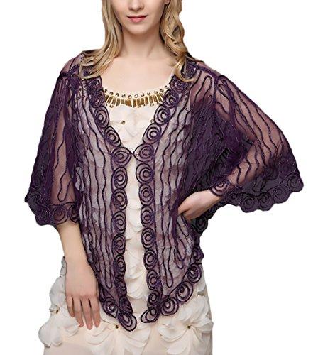 Elegante Sottile Abbigliamento Coprispalle Purple Cardigan Cocktail Vintage Pizzo Trasparente Top Da Ragazza Donna Cerimonia Chic Corta Manica Bolero Moda TwwZ5Pq