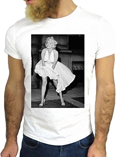 T-SHIRT JODE GGG24 HZ0005 MARYLIN FUN COOL VINTAGE ROCK FUNNY FASHION CARTOON NICE AMERICA BIANCA - WHITE XL