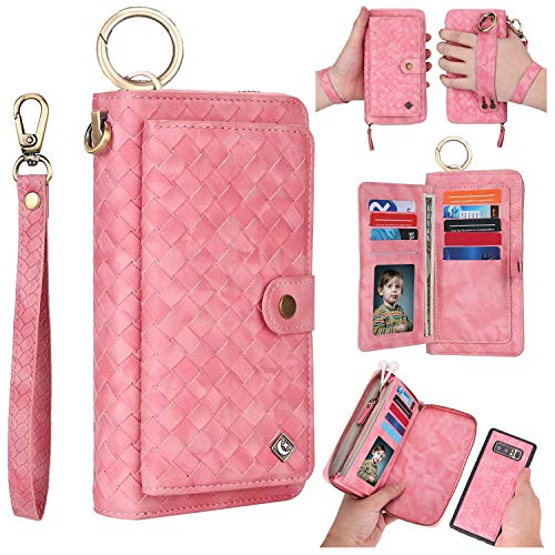 r Phone Case,AIFENG [14 Card Holder][Magnetic Detachable][Handmade Weave Pattern] Leather Wallet Case Flip Cover Zipper Purse Clutch Wallet Case for Samsung Galaxy Note 8,Rose ()
