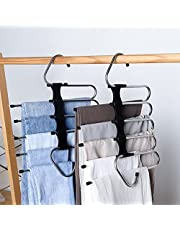 DZOMK Pants Hanger 5 Layers Foldable Stainless Steel Hangers ,Space Saving Pants Hangers Closet Storage Organizer for Jeans Trousers Pants Skirts Scarf (Black 2 Pack)
