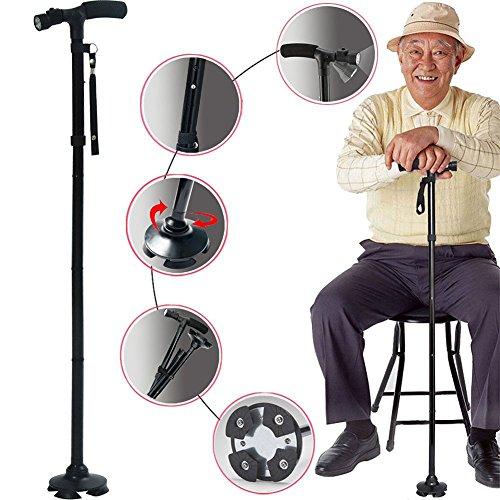 Cane Folding Walking Stick 4 Head Pivoting Trusty Adjustable Led Base Travel with LED New (For Cane Stools Sale)