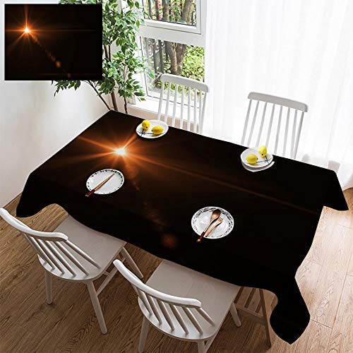 Light Sturbridge 6 (HOOMORE Simple Color Cotton Linen Tablecloth,Washable, Abstract Sun Burst with Digital Lens Flare Light Over Black Background Decorating Restaurant - Kitchen School Coffee Shop Rectangular 78×54in)