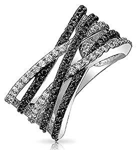 Bling Jewelry Rhodium Plated Criss Cross Black and Clear CZ Ring (5)