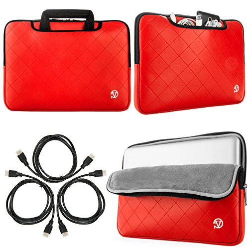 New Gummy Sleeve Briefcase for Lenovo IdeaPad 300| 300S| 500| Y700 14 15.6 in Laptops + Sumaclife 3 pack 6' HDMI Cable (Red)