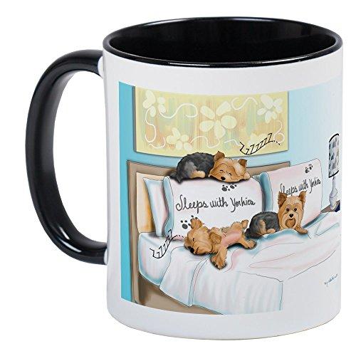 (CafePress Sleeps With Yorkies Mug Unique Coffee Mug, Coffee Cup)