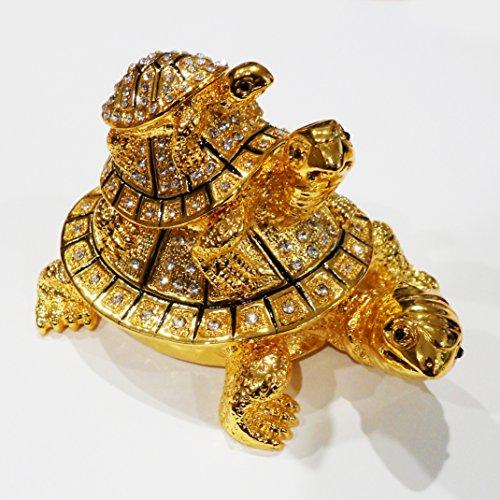[NEW] Jewelry Trinket Box Figurine Case Vintage Collectible for Keepsake Art Decor Holder Organizer, Magnet Secured Storage w/ Swarovski Crystals ( Dolphin / Turtle / Fish ) (Turtle Pyramid M) ()