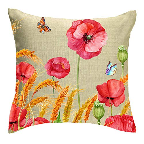 Jimrou Throw Pillow Cover 18x18inches Festival Ink Painting Red Poppy Flowers Gold Wheat Spike Butterflies Print Faux Cotton Linen Decorative Home Sofa Chair Car Throw Pillow Case Cushion Cover