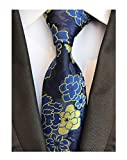 Men's Royal Blue Yellow Big Flowers Tie Business Formal Gifts Necktie for Grooms