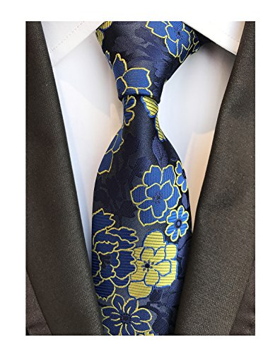 Men's Royal Blue Yellow Big Flowers Tie Business Formal Gifts Necktie for Grooms (Ace Tie)