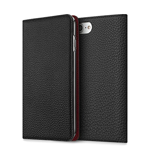 BONAVENTURA iPhone 7 Plus / 8 Plus Leather Wallet Case (Beautiful European Full-Grain Leather) | BONAVENTURA Folio Flip Leather Cover Case [iPhone 7 Plus / 8 Plus | BLACK & RED] by BONAVENTURA