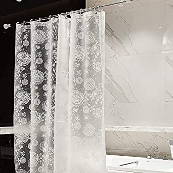 mildew resistant non toxic shower curtain liner peva 5g white clear dandelion with. Black Bedroom Furniture Sets. Home Design Ideas
