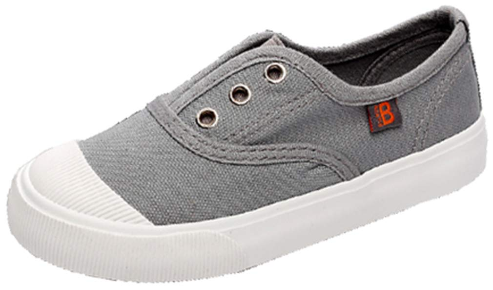 VECJUNIA Boy's Girl's Trendy Low Top Non-Slip Flat Loafers Shoes School-Uniforms (Gray, 1 M US Little Kid)