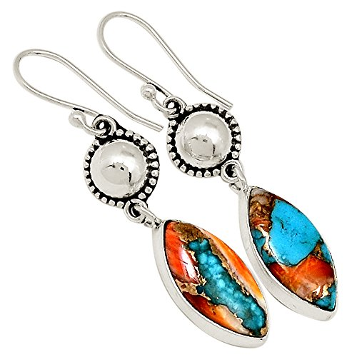 Sterling Spiny Oyster (Xtremegems Spiny Oyster & Arizona Turquoise 925 Sterling Silver Earrings Jewelry 1 7/8