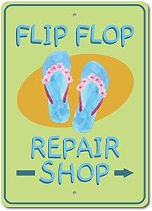 "Shoe Repair Shop Sign, Flip Flop Decor, Flip Flop Sign, Beach Sandals Sign, Entryway Sign, Beach Mud Room Aluminum Decor - 16"" x 24"""