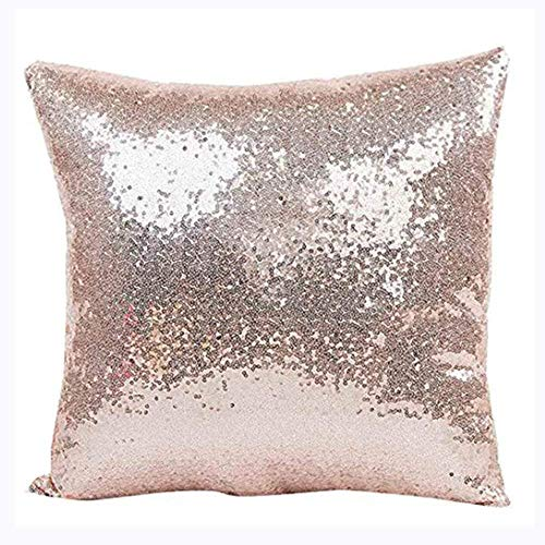 Aremazing Solid Color Glitter Sequins Home Office Decorative Pillowcase Throw Pillow Cushion Cover 16 x 16 Inches (Rose Gold)