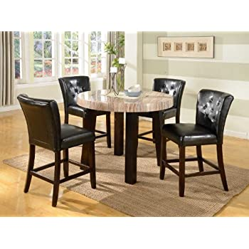 roundhill furniture zanic 5piece round faux marble counter height dining set ivory