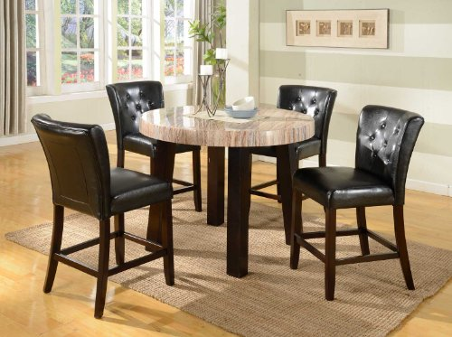 Roundhill Furniture Zanic 5-Piece Round Contemporary Faux Marble Counter Height Dining Set, Ivory Espresso