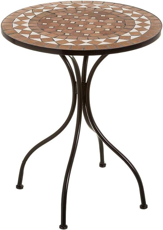 Mesa de jardín con Mosaico rústica de Metal con Mosaico de cerámica marrón de ø 60 cm - LOLAhome: Amazon.es: Jardín