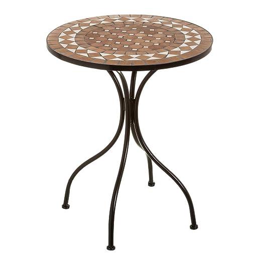 Mesa de jardín con Mosaico rústica de Metal con Mosaico de ...