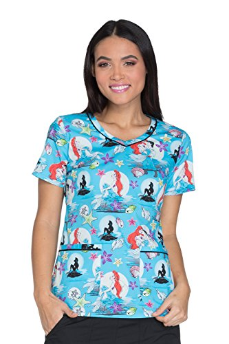 - Cherokee Tooniforms By Women's V-Neck Little Mermaid Print Scrub Top X-Small Print