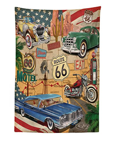 (Lunarable Route 66 Tapestry, Old Fashioned Cars Motorcycle on A Map Road Trip Journey American USA Concept, Fabric Wall Hanging Decor for Bedroom Living Room Dorm, 30 W X 45 L inches, Multicolor)