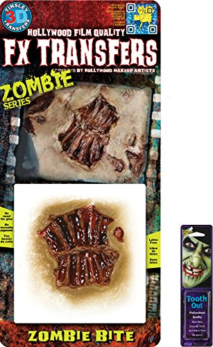 [Bundle: 2 Items - Zombie SM Bite 3D FX and Free Pack of Makeup] (3d Skeleton Zombie Costumes)