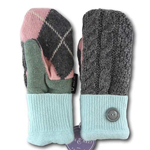 Jack & Mary Designs Handmade Womens Fleece-Lined Wool Mittens, Made from Recycled Sweaters in the USA (Green/Gray/Pink, Regular)