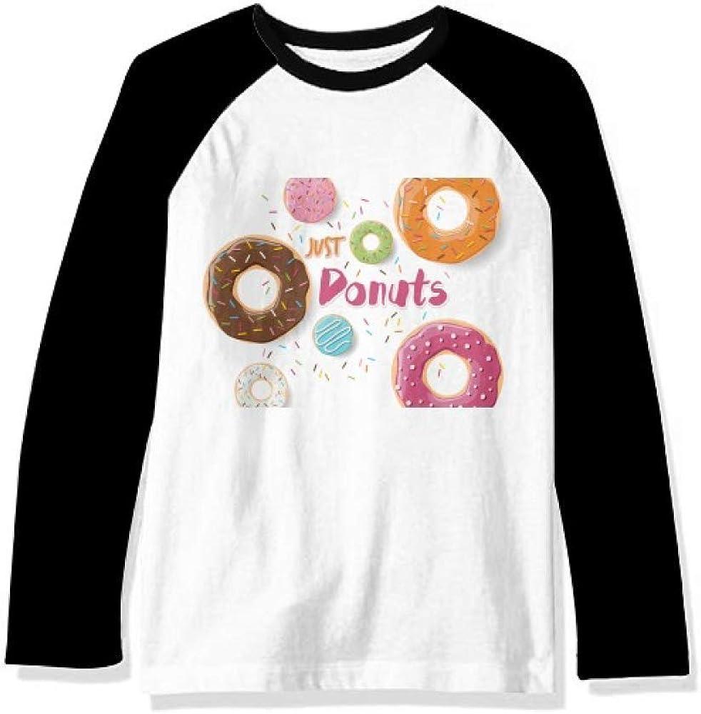 DIYthinker Doughnut Dessert Sweet Food Pattern Long Sleeve Top Raglan T-Shirt Cloth