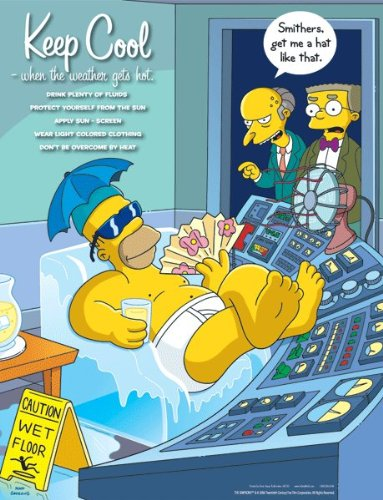 Simpsons Seasonal Safety Poster - Keep Cool When the Weather Gets Hot