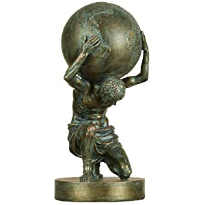Deco 79 Poly-Stone Small Atlas, 14 by 6-Inch