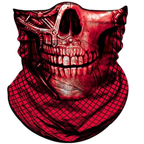 Skull Mask For Men Women Skull Bandana Skull Half Face Shield Mask 3D Tube Balaclava Breathable Sun Mask For Fishing Running Hunting Cycling Motorcycle Bike Hiking Climbing Festival Outdoor Sports -
