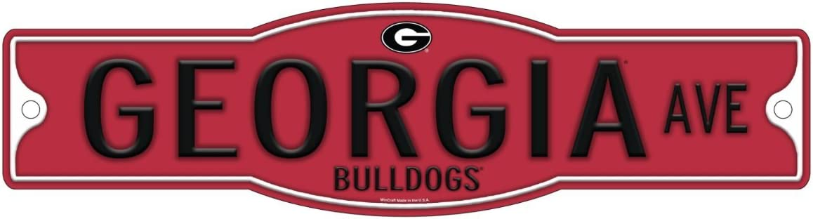 """WinCraft Georgia Bulldogs 4"""" x 17"""" Street Sign NCAA Dawgs"""