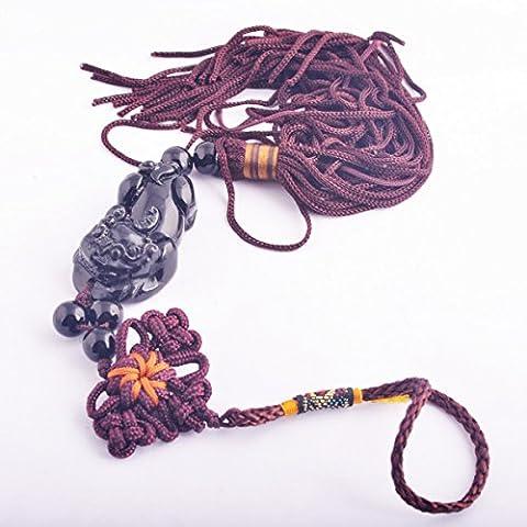 Feng Shui Natural Black Obsidian Pi Yao Charm Amulet+ Free Fengshuisale Red String Bracelet Y1266
