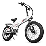 "ENGWE 500W Upgrade Fat Tire Electric Bike, 20"" Folding Off-Road eBike with Power Assist, Build-in Alarm and Dual Ignition System"