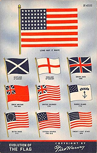 - Patriotic Post Card Old Vintage Antique Postcard Evolution of the Flag Unused