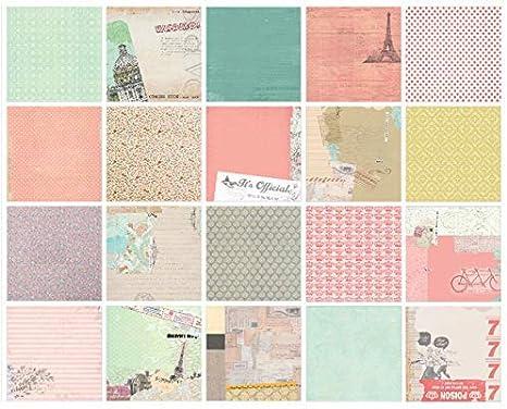 """6/"""" X 6/"""" Cartulina de Papel Scrapbooking-Diseños De 12 X 1 Hoja-Flores vintage"""