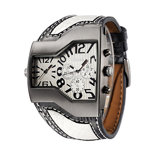 Mens Military Sports Watch Army Dual Time Movt Quartz Wristwatch with Leather Band Decorative Sub-dials