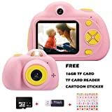 KIDOVE Kids Toys Fun Camera, Waterproof & Shockproof Child Selfie Digital Game Camcorder, 8MP 1080P Ddual Camera Video Recorder, Creative Birthday  Compact Cameras for Girls and Boys, 16GB TF Card Included (Pink)