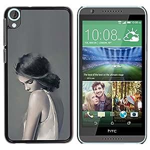 For HTC Desire 820 Case , Woman Lady Sad Feminine Grey Deep - Diseño Patrón Teléfono Caso Cubierta Case Bumper Duro Protección Case Cover Funda