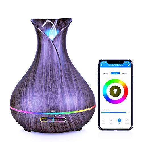 Humidificador Ultrasonico con Alexa echo, 400ml Difusor de Aromaterapia con google home integrado, nada de ruido, Difusor de Aceites Esenciales con wif, purificador de aire con LED de 7 colores de