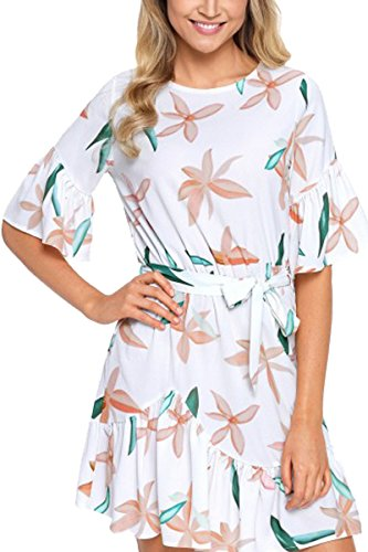 YMING Womne's Floral Dresses Shirt Summer Cocktail for sale  Delivered anywhere in Canada