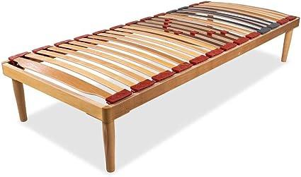 Materassimemory.eu - Somier modelo Dynamic de madera de haya con láminas amortiguadas y basculantes, con reguladores de rigidez de la zona lumbar