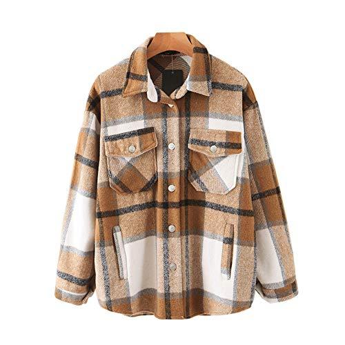 Womens Casual Wool Blend Plaid Lapel Button Down Long Sleeve Shacket Jacket Coat Winter Loose Oversize Shirts(Khaki, Medium)