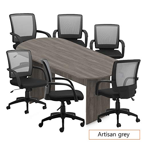 - GOF 6FT, 8FT, 10FT Conference Table Chair (G10900B) Set, Cherry, Espresso, Mahogany, Walnut, Artisan Grey (8FT with 6 Chairs, Artisan Grey)