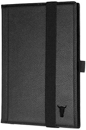 TORRO Echtleder Hardback Notebookhülle Mit 1X Nachfüllkissen (A4 Schwarz)