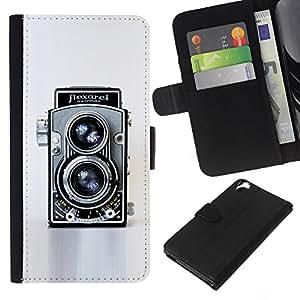 KLONGSHOP // Tirón de la caja Cartera de cuero con ranuras para tarjetas - Cámara retra de la vendimia Tecnología Arte Fotografico - HTC Desire 820 //
