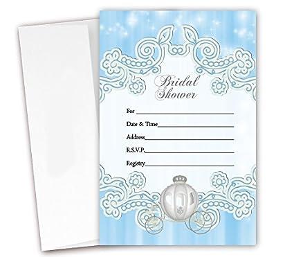 princess bridal shower invitations 20 count envelopes