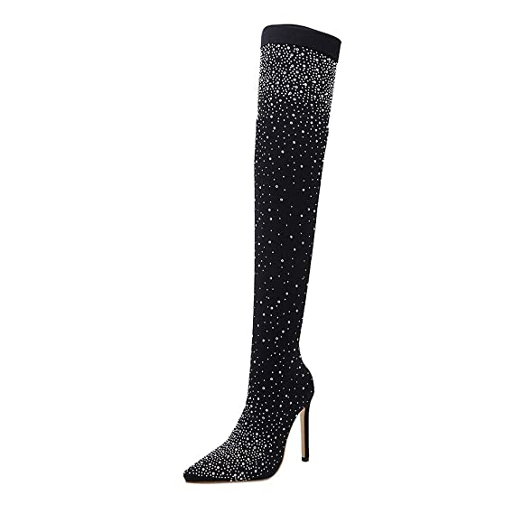 DEELIN Damen Sexy Drill Gummistiefel Over Spitz High Heels Strümpfe Over Gummistiefel ... 899aa5